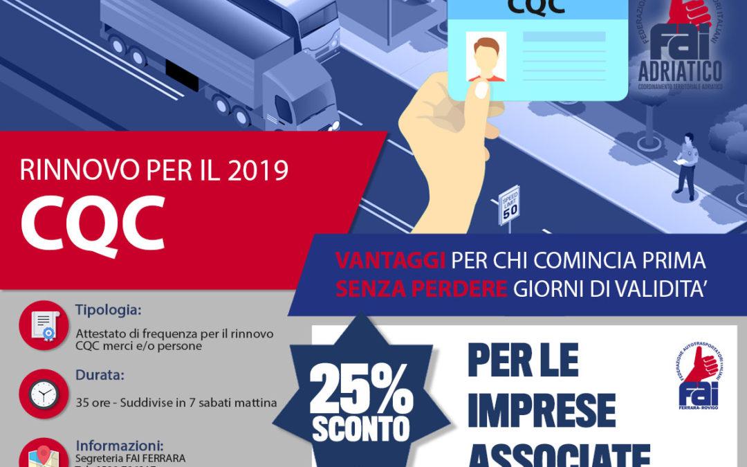 RINNOVO CQC 2019 – SCONTO 25%