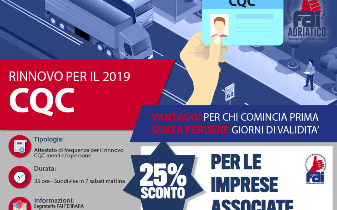 RINNOVO CQC 2019 - SCONTO 25% - FAI Conftrasporto Ferrara ...